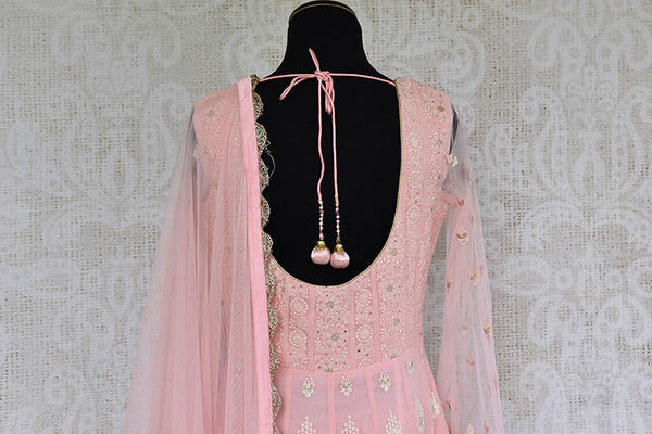 Pink Embroidered gotta Patti work anarkali suit. Elegant and classic suit for festivals.- back