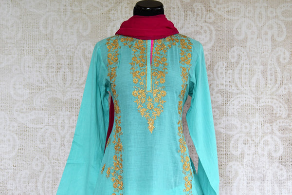 Buy Blue Embroidered Chanderi Kurta with Skirt and Dupatta online from Pure Elegance or visit our store in USA. Shop traditional Indian dresses online in USA.-top