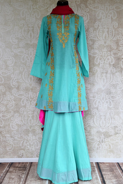 Buy Blue Embroidered Chanderi Kurta with Skirt and Dupatta online from Pure Elegance or visit our store in USA. Shop traditional Indian dresses online in USA.-full view