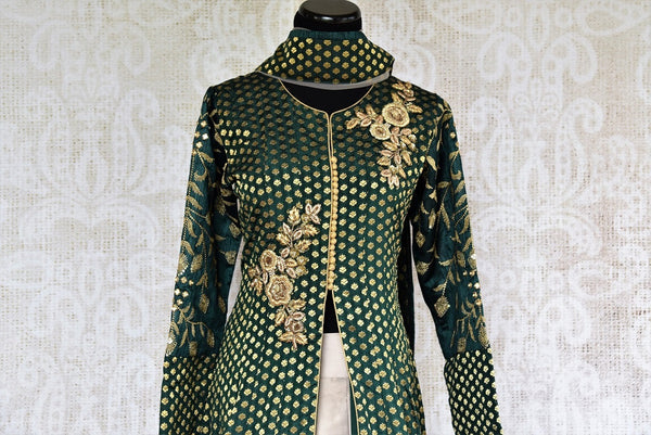 Buy online designer Green Embroidered Banarasi Kurta with Skirt.  Pure Elegance brings exquisite collection of Indowestern clothing online for Indian women.-top