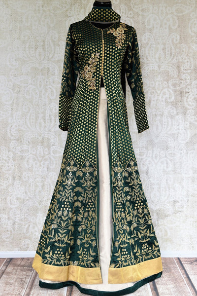 Buy online designer Green Embroidered Banarasi Kurta with Skirt.  Pure Elegance brings exquisite collection of Indowestern clothing online for Indian women.-full view