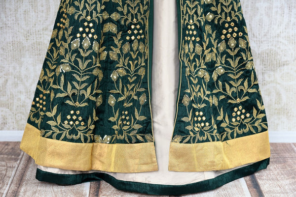 Buy online designer Green Embroidered Banarasi Kurta with Skirt.  Pure Elegance brings exquisite collection of Indowestern clothing online for Indian women.-panel