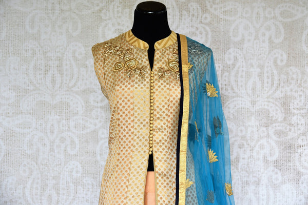 Buy online designer beige and blue embroidered Banarasi kurta with skirt.  Pure Elegance brings exquisite range of Indowestern clothing online for women in USA.-top