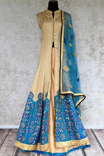 Buy online designer beige and blue embroidered Banarasi kurta with skirt.  Pure Elegance brings exquisite range of Indowestern clothing online for women in USA.-full view
