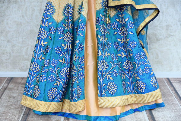 Buy online designer beige and blue embroidered Banarasi kurta with skirt.  Pure Elegance brings exquisite range of Indowestern clothing online for women in USA.-skirt