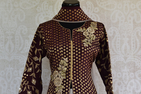 Buy online designer Brown Embroidered Banarasi Kurta with Palazzo.  Pure Elegance brings exclusive collection of Indowestern clothing online for Indian women.-front