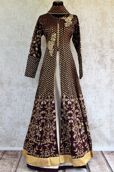 Buy online designer Brown Embroidered Banarasi Kurta with Palazzo.  Pure Elegance brings exclusive collection of Indowestern clothing online for Indian women.-full view
