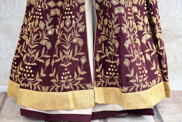 Buy online designer Brown Embroidered Banarasi Kurta with Palazzo.  Pure Elegance brings exclusive collection of Indowestern clothing online for Indian women.-skirt