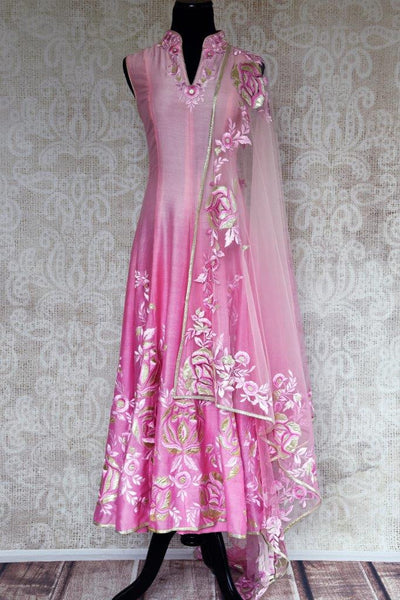 Buy pink chanderi Silk embroidered suit online in USA with dupatta. Pure Elegance store brings exquisite range of Indian designer suits online for women in USA.-full view