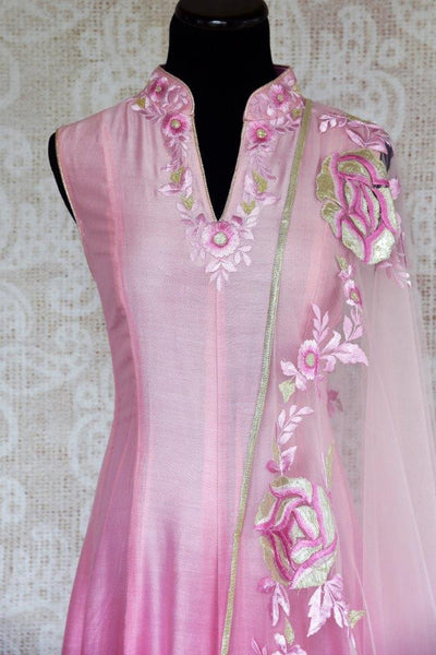 Buy pink chanderi Silk embroidered suit online in USA with dupatta. Pure Elegance store brings exquisite range of Indian designer suits online for women in USA.-closeup top
