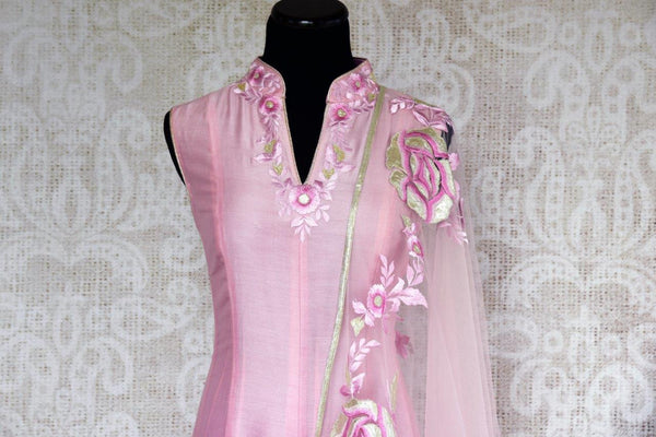 Buy pink chanderi Silk embroidered suit online in USA with dupatta. Pure Elegance store brings exquisite range of Indian designer suits online for women in USA.-front