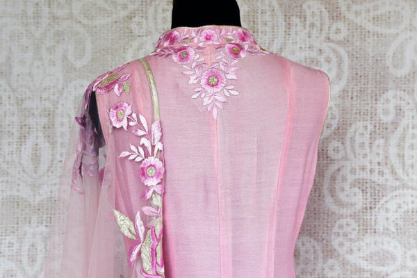 Buy pink chanderi Silk embroidered suit online in USA with dupatta. Pure Elegance store brings exquisite range of Indian designer suits online for women in USA.-back