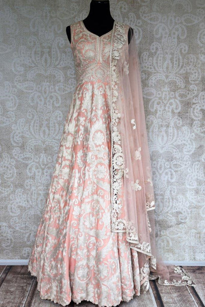Buy peach floor length Anarkali suit online in USA with chain stitch embroidery. Pure Elegance store brings exquisite range of Indian designer suits online for women in USA.-full view