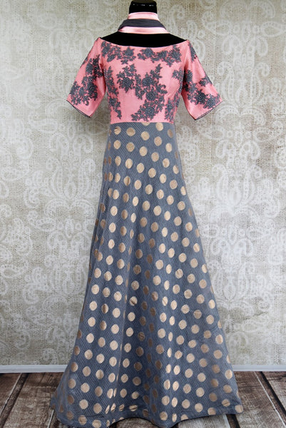 Buy grey and pink zari kota embroidered floor length anarkali online in USA. Pure Elegance brings an exquisite range of Indian Anarkali suits online & in store in USA.-full view