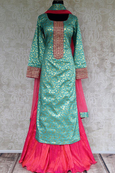 Buy blue Banarasi Kurta with pink skirt online in USA . Pure Elegance store brings exquisite range of Indo western dresses online for Indian women in USA. Shop now.-full view