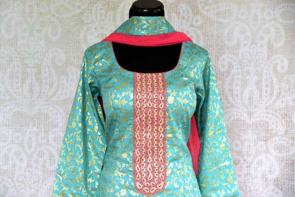 Buy blue Banarasi Kurta with pink skirt online in USA . Pure Elegance store brings exquisite range of Indo western dresses online for Indian women in USA. Shop now.-front