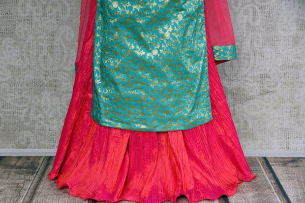 Buy blue Banarasi Kurta with pink skirt online in USA . Pure Elegance store brings exquisite range of Indo western dresses online for Indian women in USA. Shop now.-skirt