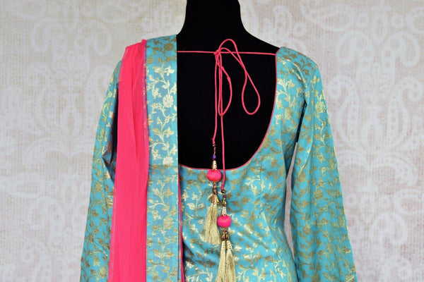 Buy blue Banarasi Kurta with pink skirt online in USA . Pure Elegance store brings exquisite range of Indo western dresses online for Indian women in USA. Shop now.-back