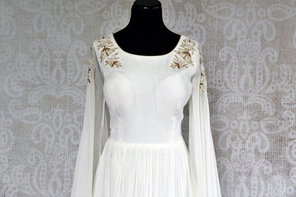Buy white designer embroidered gown dress online in USA . Pure Elegance store brings exquisite range of stylish Indian dresses online for women in USA. Shop now.-front