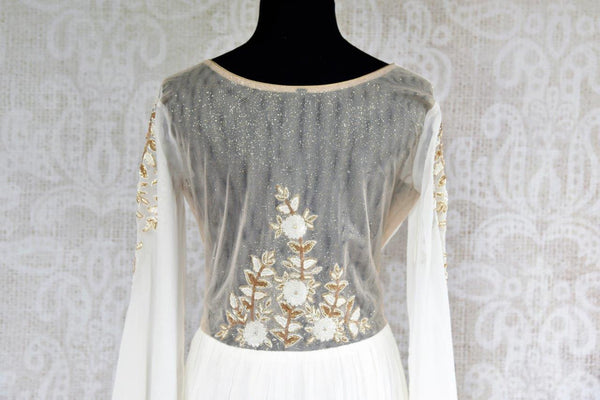 Buy white designer embroidered gown dress online in USA . Pure Elegance store brings exquisite range of stylish Indian dresses online for women in USA. Shop now.-back