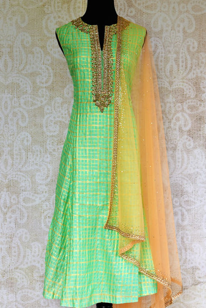 Buy green chanderi silk embroidered suit online from Pure Elegance with dupatta. Our fashion store brings stunning Indian salwar suits in USA for women for every occasion.-full view