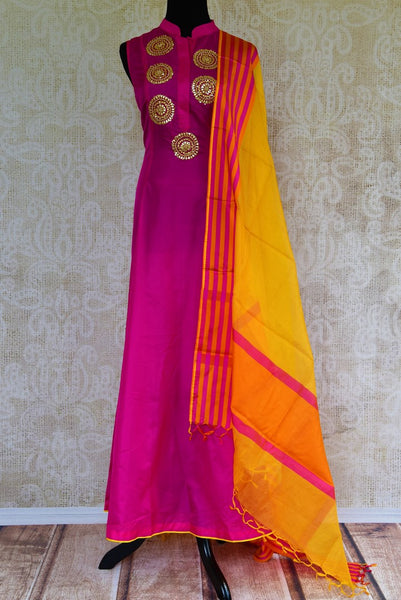 Buy pink gota patti embroidered silk suit online from Pure Elegance with dupatta. Our fashion store brings stunning Indian salwar suits in USA for women for every occasion.-full view