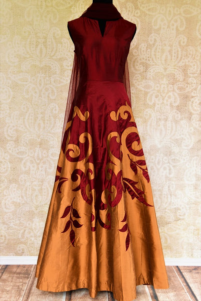 Buy maroon and brown applique silk Anarkali suit online from Pure Elegance with dupatta. Our fashion store brings stunning Indian designer Anarkali suits in USA.-full view