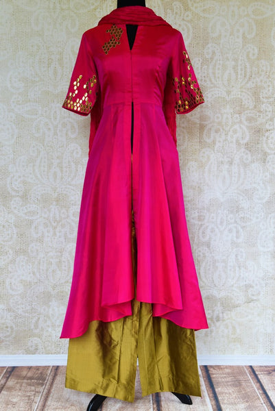 Buy pink and green applique silk palazzo suit online from Pure Elegance with dupatta. Our fashion store brings stunning designer Indian salwar suits in USA for women.-full view