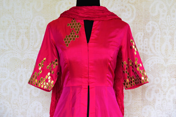 Buy pink and green applique silk palazzo suit online from Pure Elegance with dupatta. Our fashion store brings stunning designer Indian salwar suits in USA for women.-top