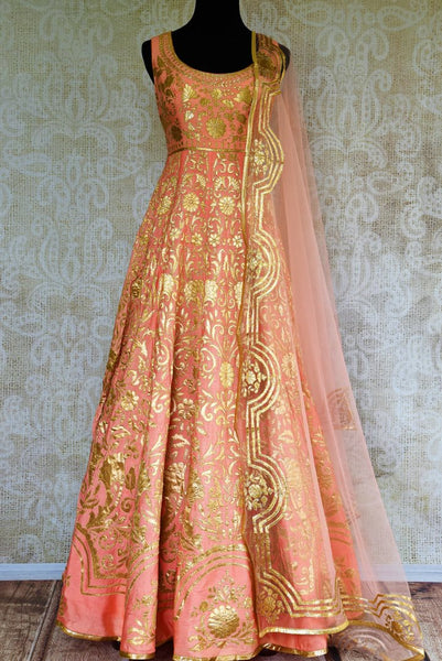 Buy peach silk applique Anarkali suit online in USA. Browse through a stunning range of Indian designer Anarkali suits at Pure Elegance online store in USA for women.-full view