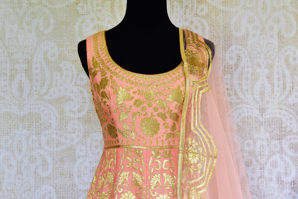 Buy peach silk applique Anarkali suit online in USA. Browse through a stunning range of Indian designer Anarkali suits at Pure Elegance online store in USA for women.-top front