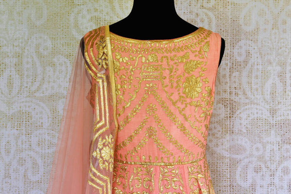 Buy peach silk applique Anarkali suit online in USA. Browse through a stunning range of Indian designer Anarkali suits at Pure Elegance online store in USA for women.-top back
