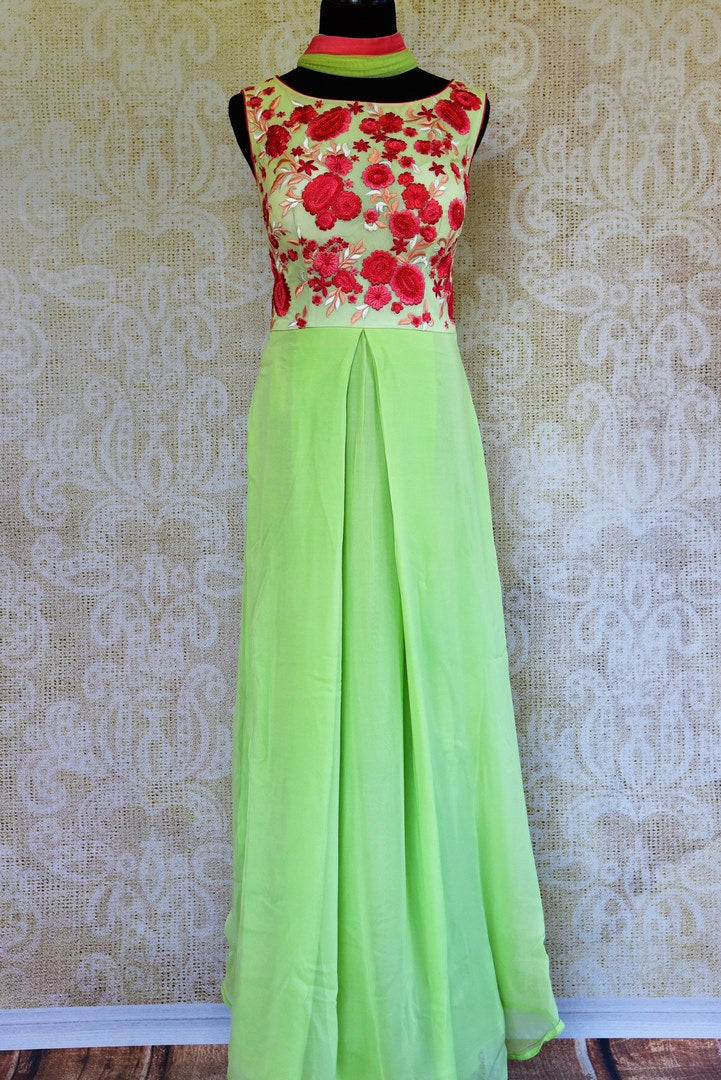 Buy pastel green georgette embroidered Anarkali suit online in USA. Pure Elegance fashion store brings a stunning collection of Indian designer suits in USA for weddings.-full view