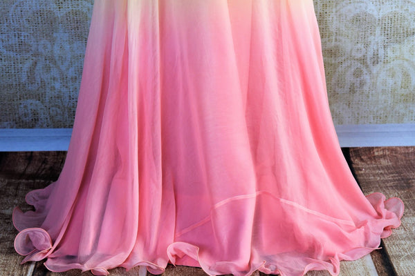 Buy cream and pink embroidered chiffon dress online in USA. Pure Elegance clothing store brings an exquisite range of Indian formal dresses for online shopping in USA.-skirt
