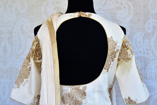 Buy off white embroidered suit with palazzo online in USA. Pure Elegance clothing store brings a stylish range of Indian designer suits for online shopping in USA. -back