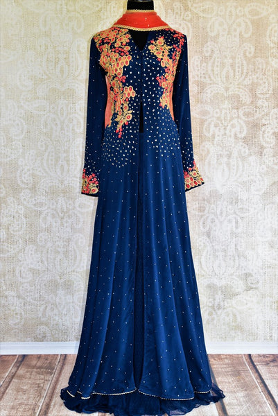 Buy navy blue embroidered georgette kurta with skirt online at Pure Elegance. Our fashion store brings exquisite range of designer Indian dresses in USA for women.-full view