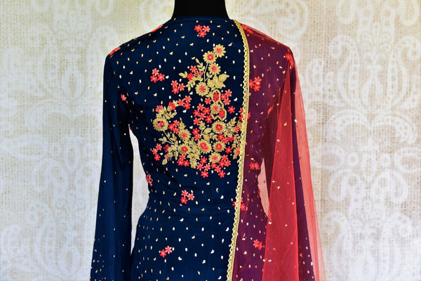 Buy navy blue embroidered georgette kurta with skirt online at Pure Elegance. Our fashion store brings exquisite range of designer Indian dresses in USA for women.-top back