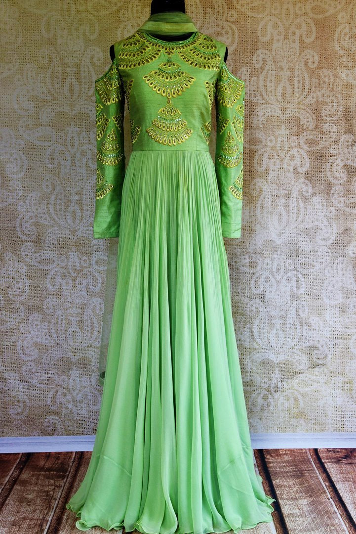 Buy green embroidered georgette and raw silk Anarkali suit online in USA. Pure Elegance store brings exquisite range of  Indian designer Anarkali suits in USA.-full view