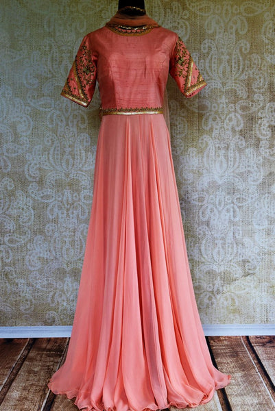 Buy pink embroidered georgette and raw silk Anarkali suit online in USA. Pure Elegance store brings exquisite range of designer Indian Anarkali suits in USA for every occasion.-full view