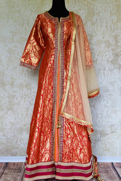 Buy red embroidered Banarasi silk suit online in USA with dupatta. Pure Elegance fashion store brings a stunning range of Indian designer suits in USA for every occasion.-full view