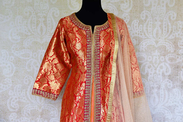 Buy red embroidered Banarasi silk suit online in USA with dupatta. Pure Elegance fashion store brings a stunning range of Indian designer suits in USA for every occasion.-top front