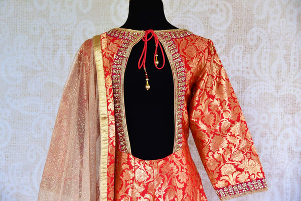 Buy red embroidered Banarasi silk suit online in USA with dupatta. Pure Elegance fashion store brings a stunning range of Indian designer suits in USA for every occasion.-back