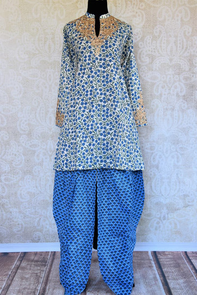 Buy white and blue embroidered malmal cotton salwar suit online in USA. Pure Elegance clothing store brings an exquisite range of Indian salwar suits in USA. Shop online.-full view