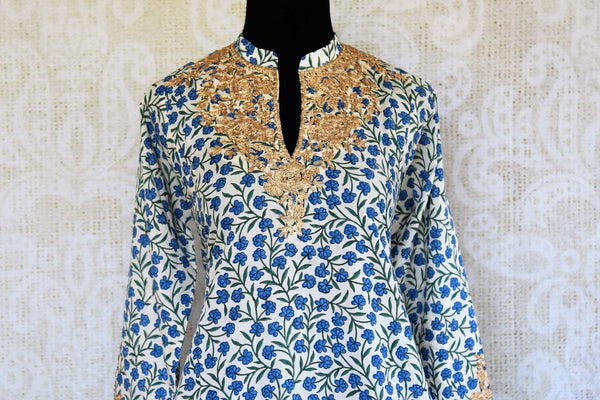 Buy white and blue embroidered malmal cotton salwar suit online in USA. Pure Elegance clothing store brings an exquisite range of Indian salwar suits in USA. Shop online.-kurta