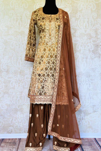 Buy cream and brown khari print salwar suit online in USA with dupatta. Pure Elegance fashion store brings an exclusive range of ethnic Indian salwar suits in USA.-full view