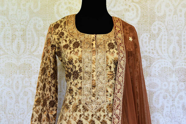 Buy cream and brown khari print salwar suit online in USA with dupatta. Pure Elegance fashion store brings an exclusive range of ethnic Indian salwar suits in USA.-top front