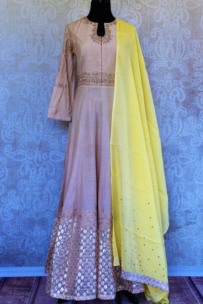 Buy cream embroidered chanderi Anarkali suit online in USA with dupatta. Pure Elegance fashion store brings an exclusive range of Indian designer Anarkali suits in USA.-full view