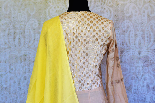 Buy cream embroidered chanderi Anarkali suit online in USA with dupatta. Pure Elegance fashion store brings an exclusive range of Indian designer Anarkali suits in USA.-top back