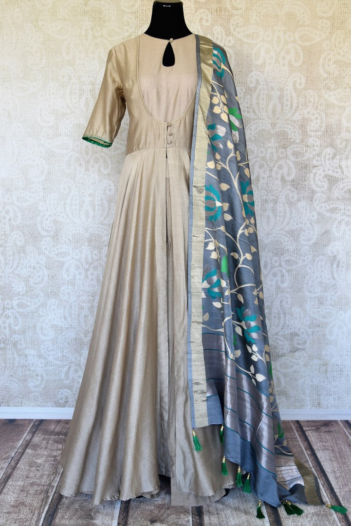 Shop grey raw silk floorlength Anarkali suit online in USA with Banarasi Dupatta. Elevate your ethnic style with exquisite Indian designer Anarkali suits from Pure Elegance Indian clothing store in USA.-full view
