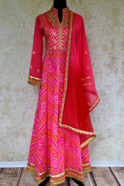 Buy Pink Bandhani Gota Patti Embroidery Anarkali Suit With